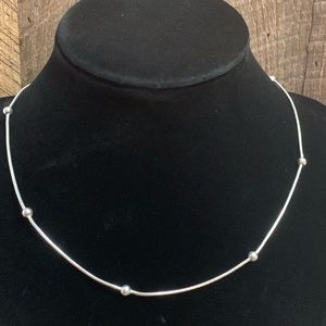 925 Sterling Silver Ball Accent Necklace